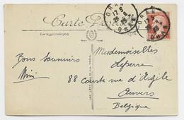PASTEUR 30C ROUGE SEUL CARTE ORAN 26.9.19 25 ORAN POUR BELGIQUE USAGE COURT EN ALGERIE - 1922-26 Pasteur
