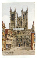 A R Quinton Postcard No. 3897 - Lincoln Cathedral & Exchequer Gate - Quinton, AR