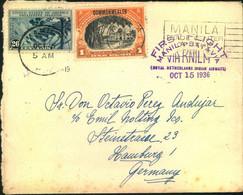 1938, First Flight MANILA-BATAVIA, Cover Addressed To Hamburg - Philippines