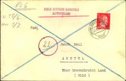 1944, DEUTSCHE DIENSTPOST ALPENVORLAND, Brief Von TRIENT Nach Amstel üb. Grevenbroich - Cartas