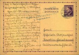 """1943, 6 Pfg. Hitler Ganzsachenkarte Aus Dem KLV-Lager """"Haus Post"""" In Bad Luhaschowitz (Ungar. Brod) - Cartas"""