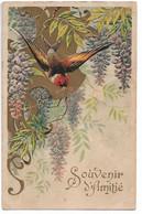 L330A1062 -   Souvenir D' Amitié  -  Oiseau Et Fleurs Type Glycine Sur Carte Gauffrée (embossée) - Other