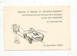 Faire Part De Naissance , 1955 ,automobile - Birth & Baptism