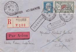 FRANCE TIMBRES RARE Sur LETTRE - Type Merson N° 207 Et Pasteur N° 181 - Recommandé Courrier Accidenté Par Avion En 1929 - Ramppost