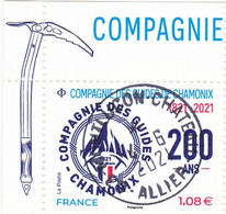"""FRANCE 2021NC -  Timbre(a) Oblitéré Gommé Dentelé Avec VIGNETTE """"Compagnie Des Guides De CHAMONIX"""" (beau Cachet Rond) - 2010-.. Matasellados"""