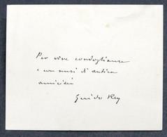 Autografo Su Biglietto Di Guido Rey - Scrittore Alpinista - 1910 Ca. - Autographes