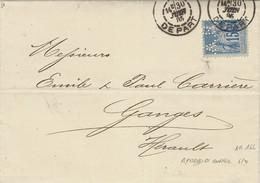 1885- Lettre Affr. 15 C Sage Perforé A  R  - Aymard Et Ruffer  De Lyon - Perfins