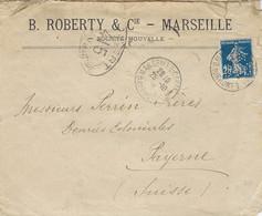 1916- Lettre De Marseille Affr. 25 C  Perforé  B R C  / S M   B. ROBERTY & Cie  Pour La Suisse - Perfins