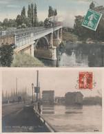 2 CPA: CHATOU (78) TRAIN PONT (couleur),CRUE AU PONT INONDÉ EN 1910 (glacée) ...ÉCRITES - Chatou