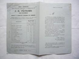 Pub & Tarifs 1863 Peintures Broyées à L'huile De Lin J-B Patrier à Poitiers - Pubblicitari