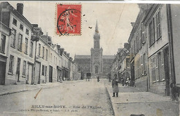 80, Somme, AILLY-sur-NOYE,  Rue De L'Eglise, Personnages,  Scan Recto-Verso - Ailly Sur Noye