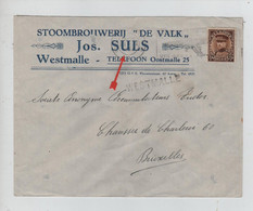 "REF4460/ TP 341 Albert Képi S/L. Entête STOOMBROUWERIJ "" DE VALK"" C.Antwerpen 1934 + Griffe WESTMALLE > BXL - Linear Postmarks"
