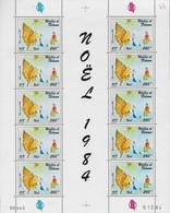 1984 Wallis Et Futuna N° PA142  Nf** MNH . Feuille Complète Datée 9 10 84. NOEL. Dessin D'enfant. - Unused Stamps