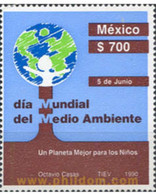 Ref. 343423 * MNH * - MEXICO. 1990. WORLD DAY OF THE ENVIRONMENT . DIA MUNDIAL DEL MEDIO AMBIENTE - Environment & Climate Protection