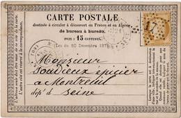 CERES N°59 Avec Etoile De PARIS N°17 Sur Carte Postale Pour MONTREUIL (93) - - 1849-1876: Classic Period