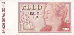 BILLETE DE CHILE DE 5000 PESOS DEL AÑO 1988 EN CALIDAD EBC (XF) (BANKNOTE) MUY RARO - Cile