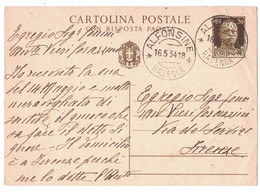 LA901    Regno 1934 - Alfonsine (Ravenna) - Annullo Su Cartolina Postale Cent.30 Per Firenze - Marcophilia