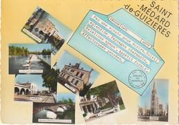 CE24 -(33) SAINT MEDARD DE GUIZIERES - TELEGRAMME - CARTE MULTIVUES  COULEURS : ECOLES , MAIRIE , BARRAGE  - 2  SCANS - Other Municipalities