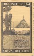 Chemins De Fer De L'Etat 1911 - Normandie, Bretagne, Jersey, Londres - Dépliant: Horaires Des Trains - Eisenbahnverkehr