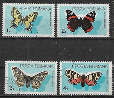 1985 Rumania Fauna Insectos Mariposas 4v. - Usado