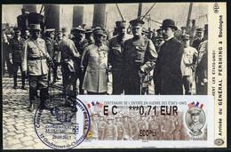 FRANCE (2017). Carte Maximum Card - ATM LISA - Centenaire Entrée Guerre États-Unis, Arrivée Général Pershing - 2010-...
