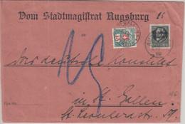 Bayern - 25 Pfg. Ludwig/Volksstaat Brief I.d. SCHWEIZ Augsburg 1919 Nachporto ! - Bavaria