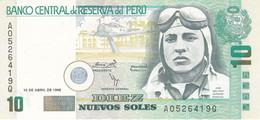 BILLETE DE PERU DE 10 NUEVOS SOLES DEL AÑO 1996 SIN CIRCULAR (UNCIRCULATED) (BANKNOTE) AVION-PLANE-AVIONETA - Perù