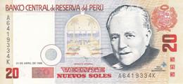 BILLETE DE PERU DE 20 NUEVOS SOLES DEL AÑO 1996 SIN CIRCULAR (UNCIRCULATED) (BANKNOTE) AVION-PLANE-AVIONETA - Perù