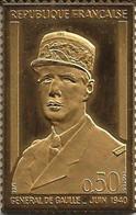 Timbre Argent 1er Titre Doré Or Fin - Général De Gaulle - 1971 - TTB/SUP - Autres