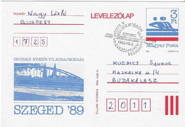 1989 Championnats Du Monde Juniors D'Aviron à Szeged (Hongrie); Entier Postal - Aviron