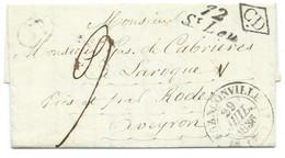 MARQUE POSTALE CURSIVE 72 ST LEU / TAVERNY / FRANCONVILLE POUR LAROQUE AVEYRON / LAC / 1836 / CD - 1801-1848: Voorlopers XIX