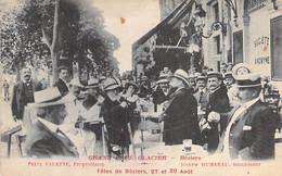 34 - BEZIERS : Les FETES Du 27 Et 29 AOUT : La Terrasse Très Animée Du GRAND CAFE GLACIER  - Jolie CPA 1913 - Hérault - Beziers