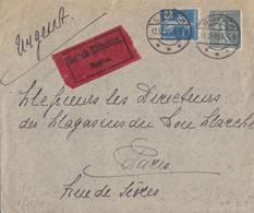Lettre En Exprés Obl. Markirch *** (T158) Le 17/12/18 Cachet Allemand Sur TP Français 15c + 25c Semeuse - Elzas-Lotharingen