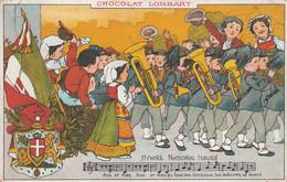 """CPA Publicitaire Publicité Réclame Chocolat """"Lombart"""" Hymne National Italien Fanfare Clique Héraldique Illustrateur - Advertising"""