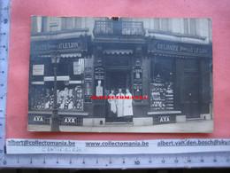 Carte Postale Photo Molenbeek  DELHAIZE  Le Lion  Magasin ( Winkel ) Annimé Circa 1906 - Rue  église Saint Anne - Koekelberg