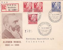 SVERIGE. ALFRED NOBEL 1833 - 1896. ANNEE 1946 FDC ENVELOPPE. CIRCULEE RECOMMANDE.- LILHU - Nobel Prize Laureates