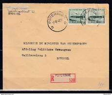 Aangetekende Brief Van Poperinge D Naar Brussel - Covers & Documents
