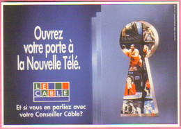 """Carte Postale """"Cart'Com"""" Série """"Divers..."""" - Ouvrez Votre Porte à La Nouvelle Télé (trou De Sérrure) Le Câble - Advertising"""