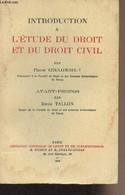 Introduction à L'étude Du Droit Et Du Droit Civil - Coulombel Pierre - 1969 - Droit