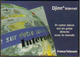 "Carte Postale ""Cart'Com"" - Série ""Divers,..."" Djinn Internet (mappemonde) France Telecom - Rennes - Advertising"