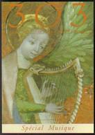 """Carte Postale """"Cart'Com"""" - Série """"Divers, Presse, Média,..."""" - 303 (femme à La Harpe) Spécial Musique (magazine) - Advertising"""