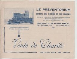 Invitation Vente De Charité Pour Le Préventorium Enfants Des Chemins De Fer Français à Asnelles Sur Mer (14) En 1947 - Programs