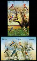 EGYPT / 2014 / BIRDS + OFFICIAL BULLETIN / PALM-DOVE / HOOPOE / ROLLER / BEE-EATER / SOOTY FALCON / GOLDEN ORIOLE / MNH - Nuovi