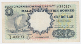Malaya British Borneo 1 Dollar 1959 VF Pick 8A - Malaysia