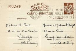 1941- C P E P Iris Sans Valeur  De LIMOGES   - Effigie D'Iris Très Particulière - WW II