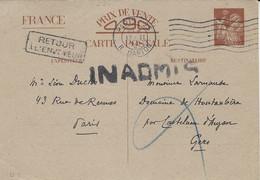 """1941- C P E P Iris Sans Valeur  De PARIS Pour Le Gers -   """" INADMIS """"   -voir Le Dos - WW II"""
