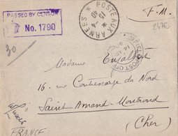 24763# WW2 LETTRE FM CENSURE PASSED BY CENSOR FIELD POST OFFICE 56 POSTE AUX ARMEES * 1940 SAINT AMAND MONT ROND CHER - WW II