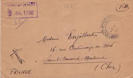 24765# WW2 LETTRE FM CENSURE PASSED BY CENSOR Obl FIELD POST OFFICE 1940 Pour SAINT AMAND MONT ROND CHER - WW II