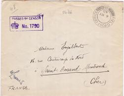 24766# WW2 LETTRE FM CENSURE PASSED BY CENSOR Obl FIELD POST OFFICE 55 1940 Pour SAINT AMAND MONT ROND CHER - WW II