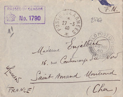 24767# WW2 LETTRE FM CENSURE PASSED BY CENSOR FIELD POST OFFICE 55 POSTE AUX ARMEES * 1940 SAINT AMAND MONT ROND CHER - WW II